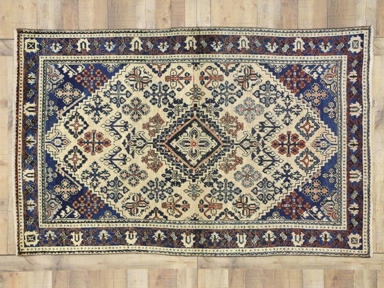 Wool Vintage Persian Joshegan Rug with Modern Italian Farmhouse Style For Sale