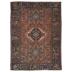 Vintage Persian Karaja Rug, Handmade Wool Oriental Rug, Rust, Ivory, Light Blue