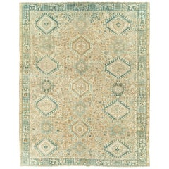 Mid-Century Persian Room Size Carpet With A Tribal Design In Teal and Sand Color
