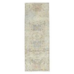 Vintage Persian Karajeh Distressed Look Clean Pure Wool Hand Knotted Runner Rug