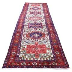 "Vintage Persian Karajeh Pure Wool Hand-Knotted Runner Oriental Rug, 3'3"" x 11'2"""