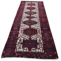 Vintage Persian Karajeh Pure Wool Runner Hand Knotted Oriental Rug