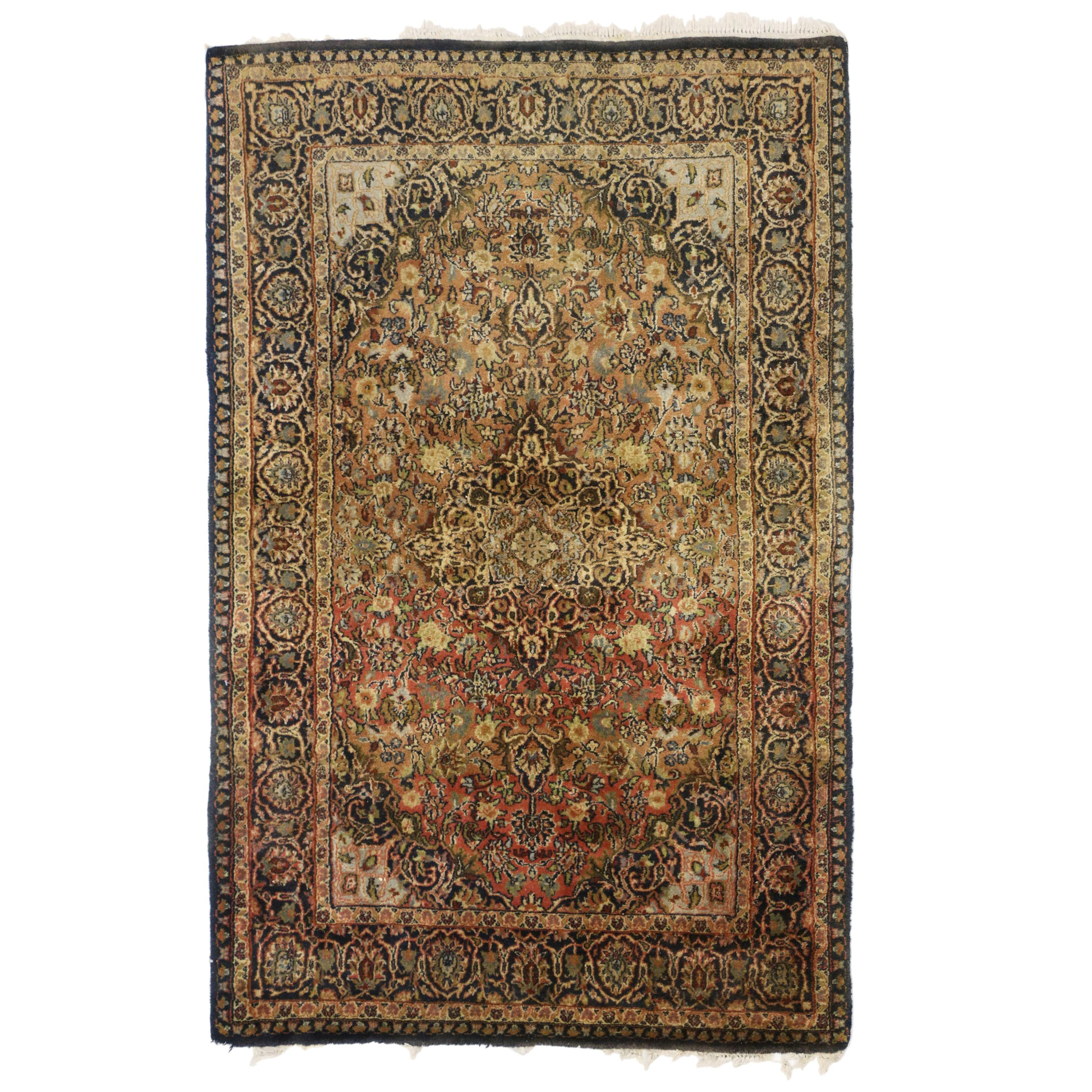 Vintage Persian Kashan Accent Rug with Spanish Colonial Style