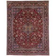 Vintage Persian Kashan Area Rug with Traditional Style
