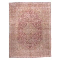 Vintage Persian Kashan Carpet, Red Field, Light Brown Borders, Central Medallion