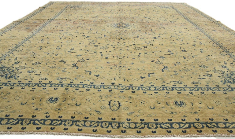 76514, vintage Persian Kashan rug with French Country style. Lustrous decadence and French Country style is on display in this hand-knotted wool, vintage Persian Kashan rug. Surrounding a dainty center medallion with an outer stepped lobe border the