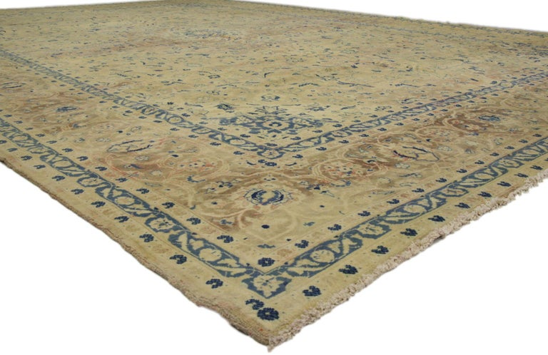 French Provincial Vintage Persian Kashan Rug with French Country Style For Sale