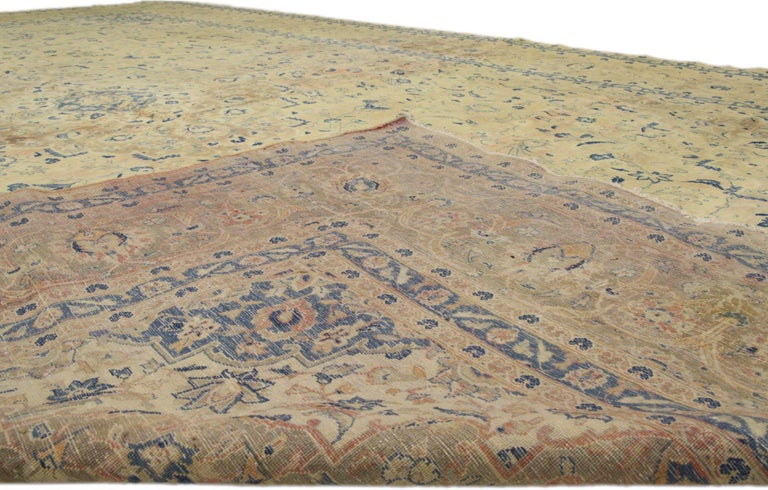 Hand-Knotted Vintage Persian Kashan Rug with French Country Style For Sale