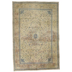 Vintage Persian Kashan Rug with French Country Style