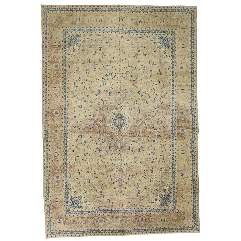 Vintage Persian Kashan Rug with French Country Style For Sale