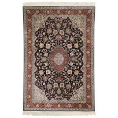 Vintage Persian Kashan Silk Rug with Old World Dutch Renaissance Style