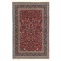 Vintage Persian Kashan Style Wool and Silk 300 Line Rug with Traditional Style