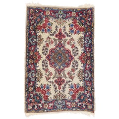 Vintage Persian Kerman Accent Rug with Traditional Style