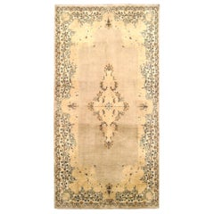 Vintage Persian Kerman Oriental Rug, Small Size, with Soft Colors and Medallion