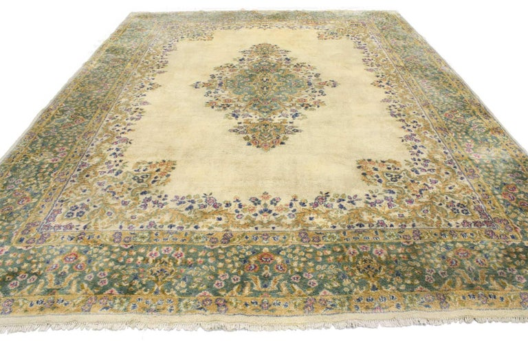 76735 Vintage Persian Kerman, Persian Kirman Area rug 09'00 x 12'01. From casual elegance to fresh and formal, relish the refinement in this hand-knotted wool vintage Persian Kerman rug (Kirman) rug. Its soft colors evoke an air of classic comfort