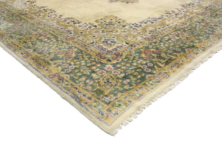 Hand-Knotted Vintage Persian Kerman, Persian Kirman Area Rug For Sale