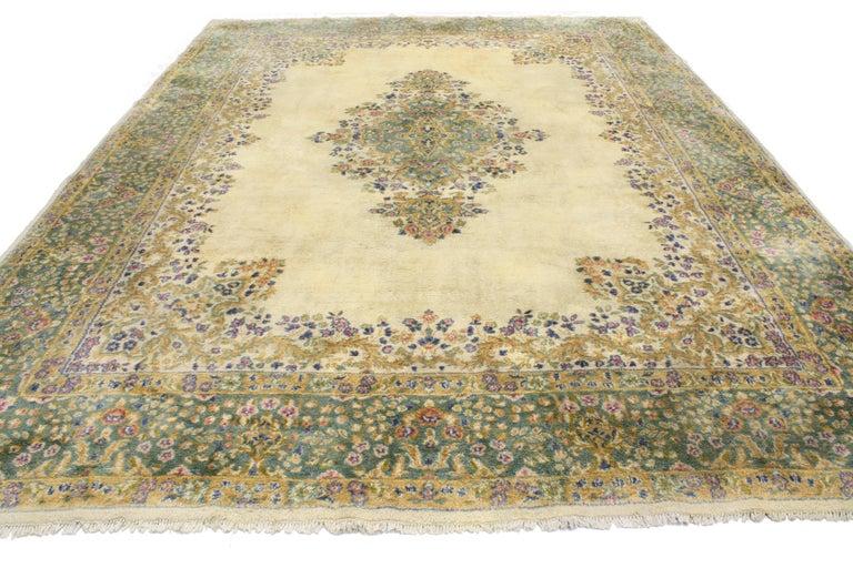 Wool Vintage Persian Kerman, Persian Kirman Area Rug For Sale