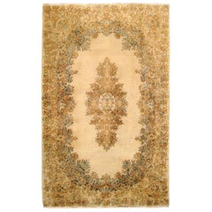 Vintage Persian Kerman Rug, in Small Size, with Soft Colors