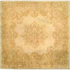 Vintage Persian Kerman Rug, in Small Square Size, with Ivory Field & Soft Colors