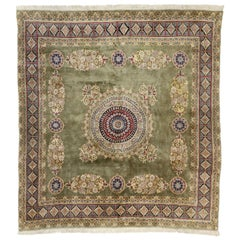 Vintage Persian Kerman Square Area Rug with Elizabethan and Georgian Style