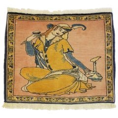 Vintage Persian Khamseh Pictorial Rug with Dervish Scene, Persian Wall Hanging