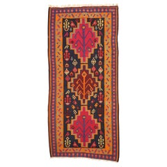 Vintage Persian Kilim Gallery Rug, Wide Hallway Tribal Runner