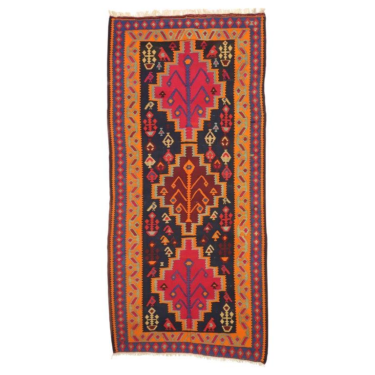 Vintage Persian Kilim Gallery Rug, Wide Hallway Tribal