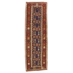Vintage Persian Kilim Gallery Rug with Modern Rustic Adirondack Tribal Style