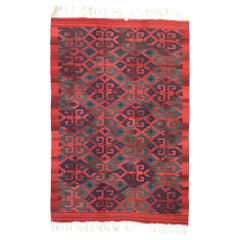 Vintage Persian Kilim Rug with Modern Northwestern Tribal Style