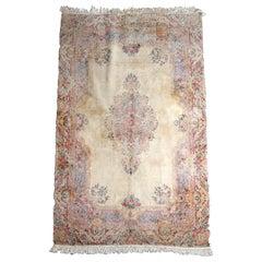 Vintage Persian Kirman Floral Oriental Rug, circa 1950