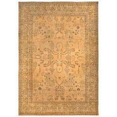 Vintage Persian Kirman Camel Handwoven Wool Rug