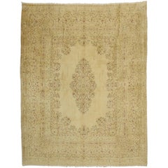 Vintage Persian Kirman Rug with French Victorian Style, Gold Kerman Area Rug