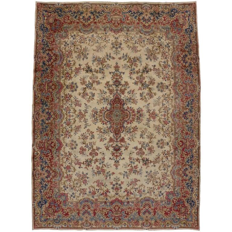Vintage Persian Kirman Rug with Rococo Style, Persian Kerman Area Rug For Sale
