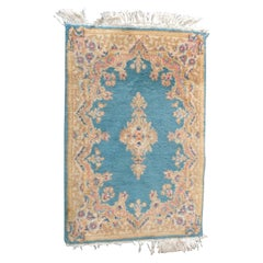 Vintage Persian Kirman Wool Oriental Floral Small Rug, circa 1950
