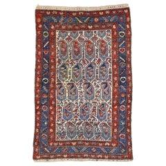 Vintage Persian Kurdish Rug with Blue Boteh Pattern