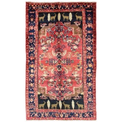 Vintage Persian Kurdish Rug with Red and Onyx Tribal Design