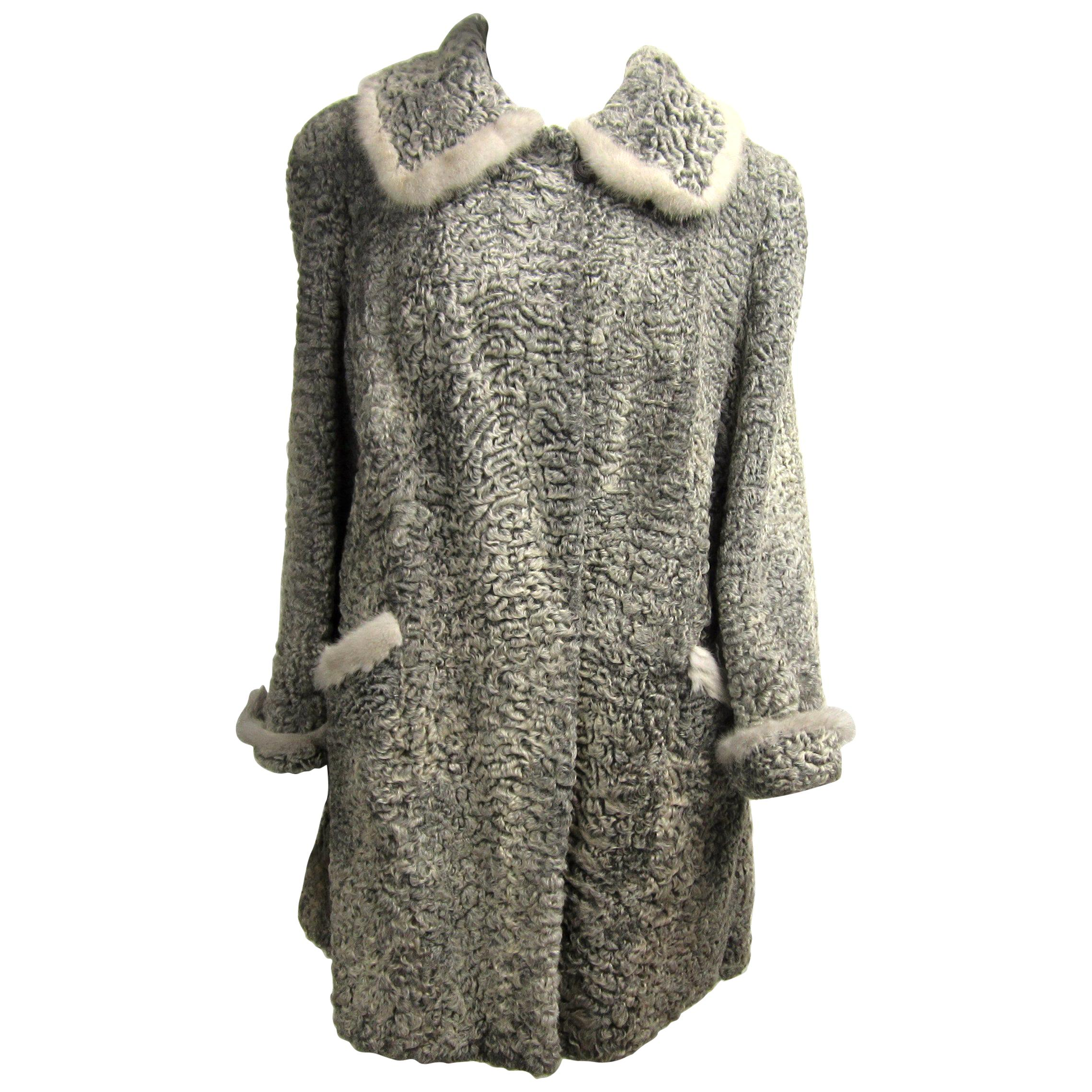 Vintage Persian Lamb Astrakhan - Mink fur Car coat Jacket Grey Large