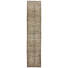 Vintage Persian Lilihan Runner in Neutral Tones of Taupe, Nude, Gray