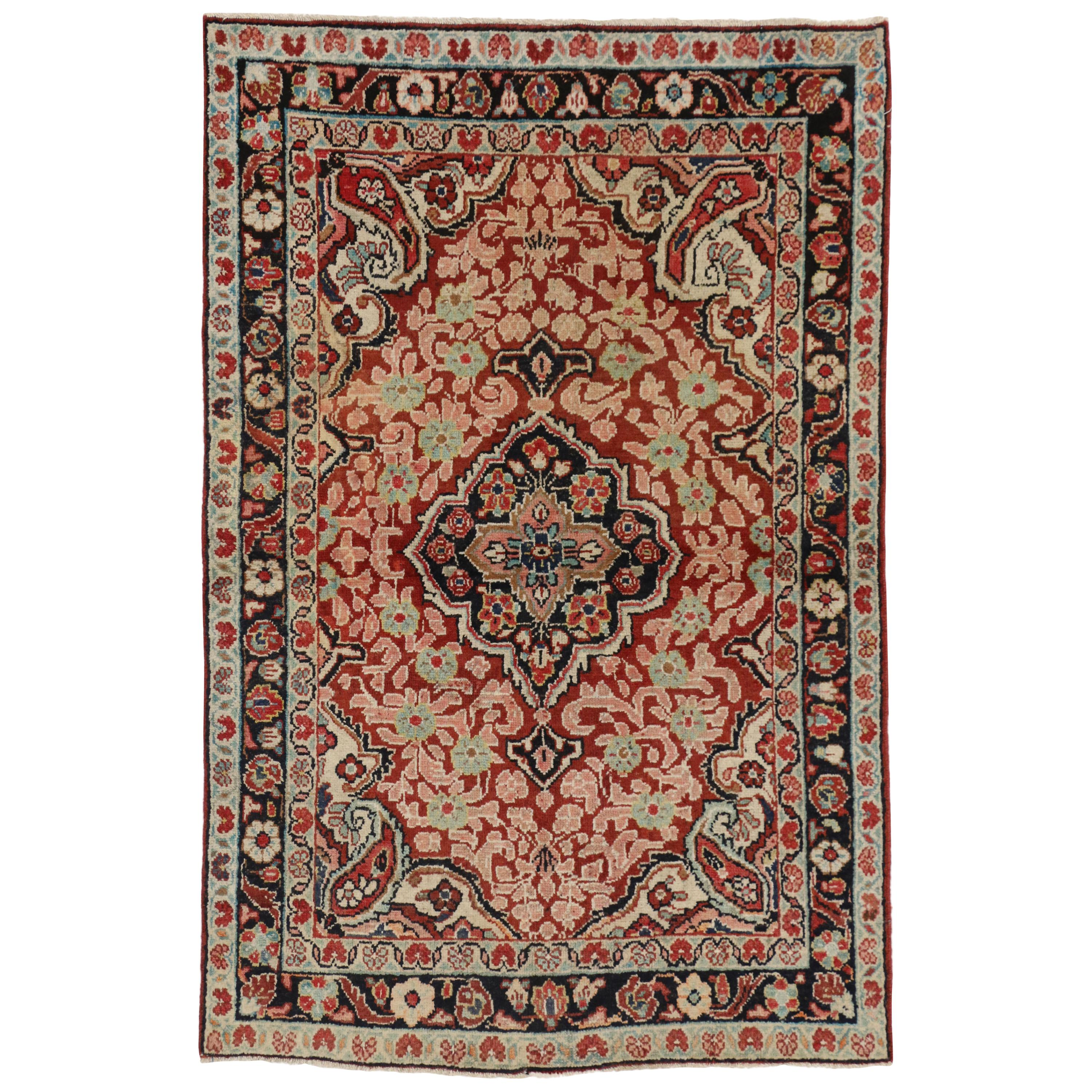 Vintage Persian Mahal Accent Rug with Traditional Victorian Style