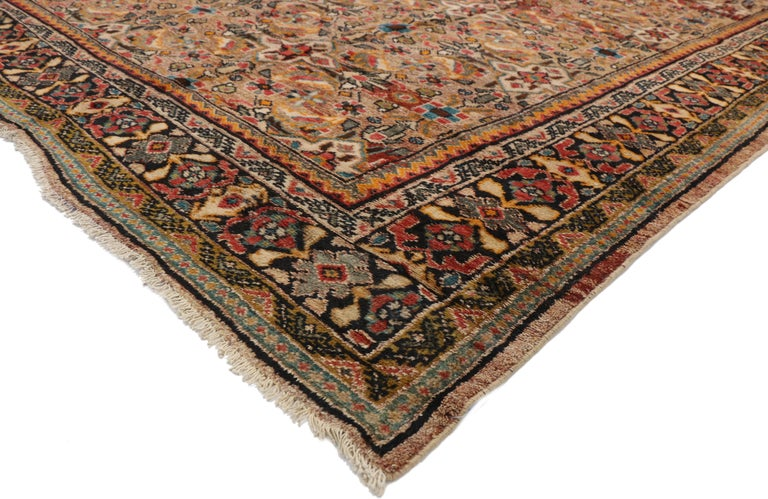 76355 Vintage Persian Mahal Area Rug with Eclectic Modern Northwestern Style 09'03 x 12'07. This hand knotted wool vintage Persian Mahal rug features a lively all-over geometric floral lattice pattern composed of the Mina Khani pattern. The inner
