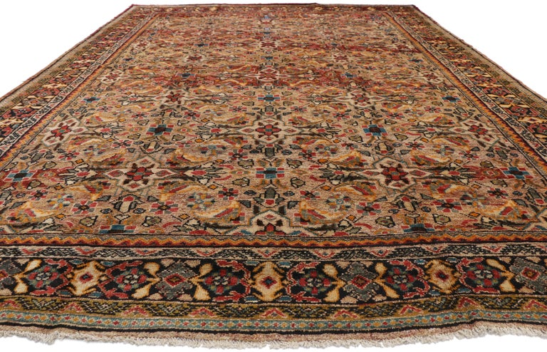 Aesthetic Movement Vintage Persian Mahal Area Rug with Eclectic Modern Northwestern Style For Sale