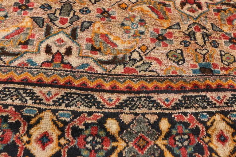 Hand-Knotted Vintage Persian Mahal Area Rug with Eclectic Modern Northwestern Style For Sale