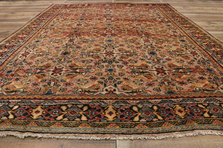 Wool Vintage Persian Mahal Area Rug with Eclectic Modern Northwestern Style For Sale