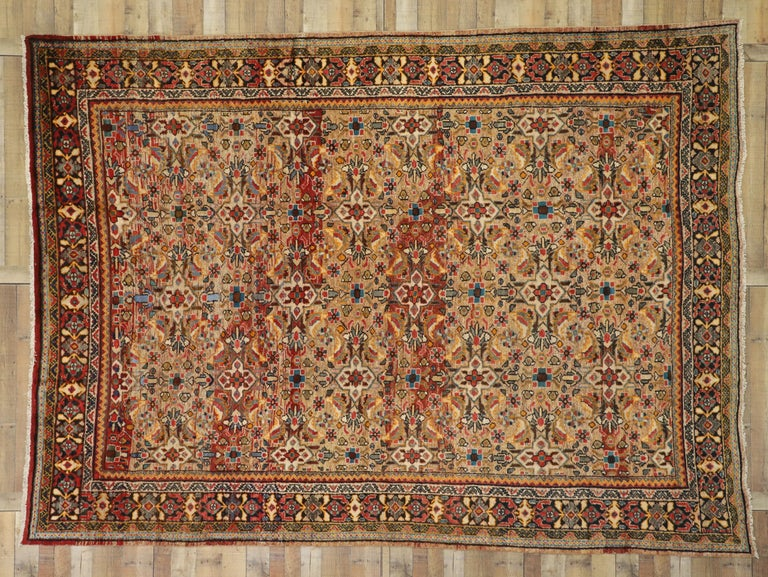 Vintage Persian Mahal Area Rug with Eclectic Modern Northwestern Style For Sale 1