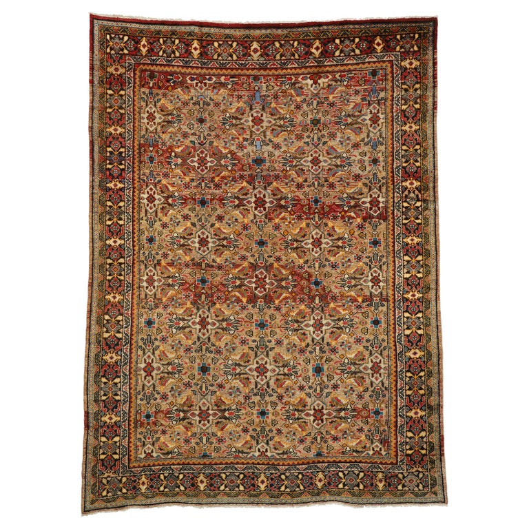 Vintage Persian Mahal Area Rug with Eclectic Modern Northwestern Style For Sale