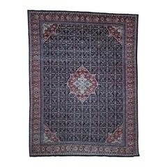 Vintage Persian Mahal Even Wear Navy Blue Fish Design Hand Knotted Oriental Rug