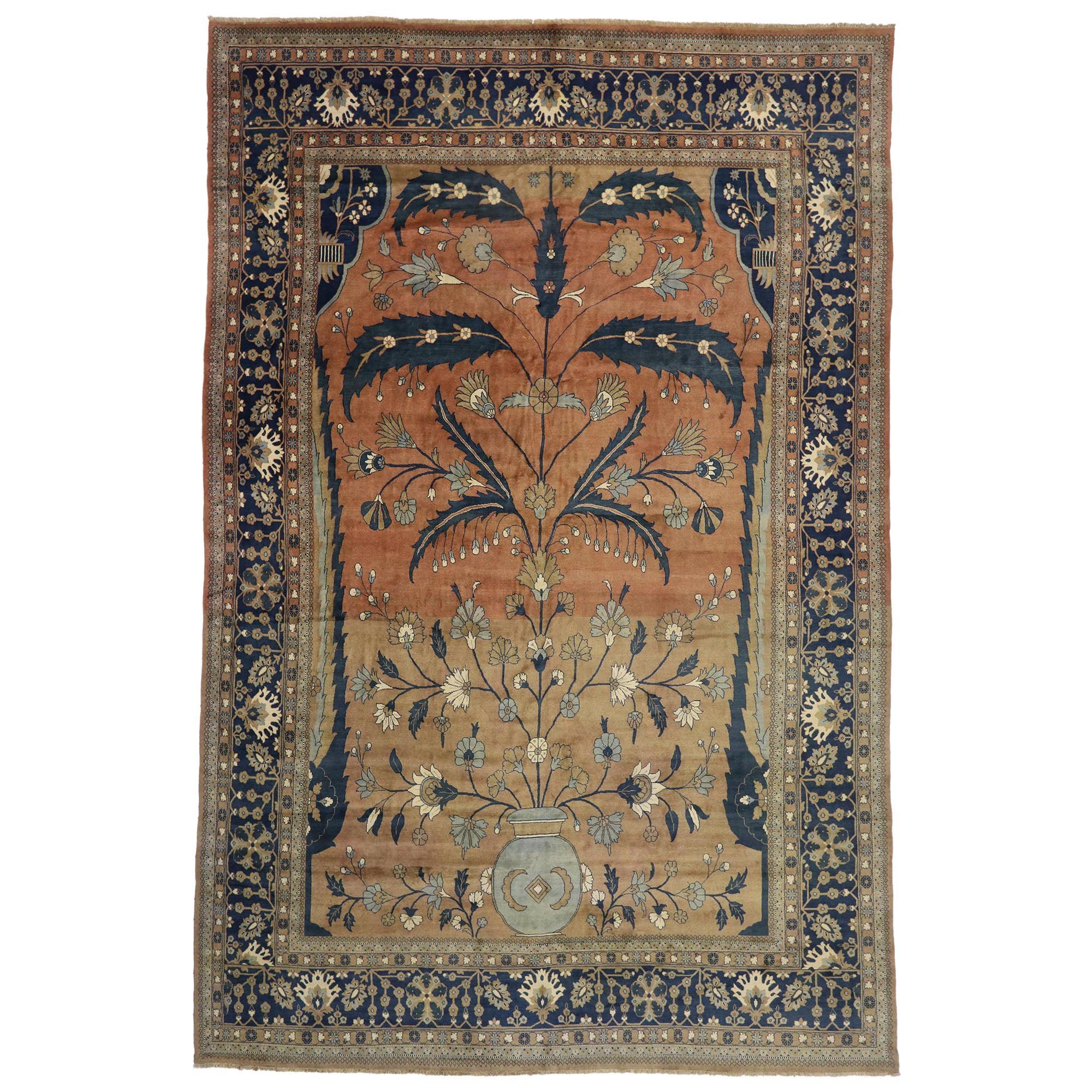 Vintage Persian Mahal Rug with Rustic Mediterranean Italian Style