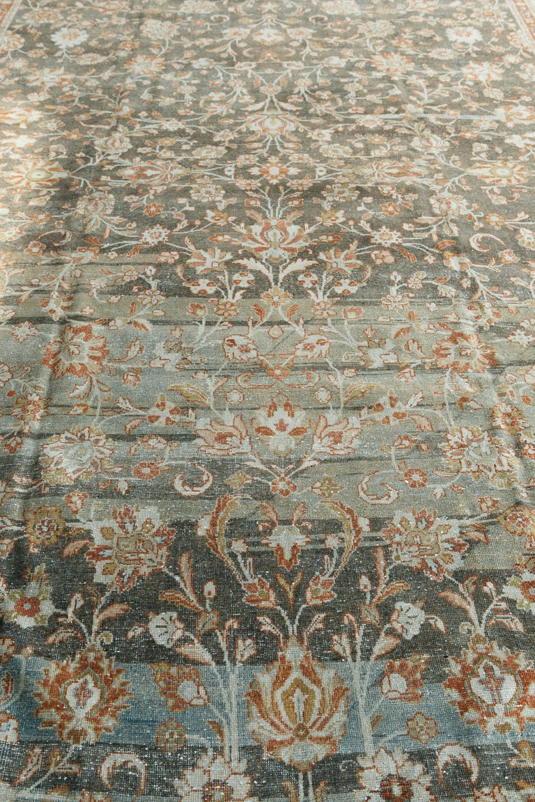 Exemplary Mahal antique carpets, such as this one, are preferred by many for their originality and inspired artistry. Therefore, rugs like this have forged an important niche in today's decorative market for their compatibility and versatility with