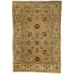 Vintage Persian Mahal Rug, Persian Palace Size Rug with Victorian Style
