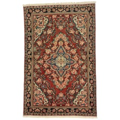 Vintage Persian Mahal Sarouk Rug with Rustic English Country Style, Entry Rug